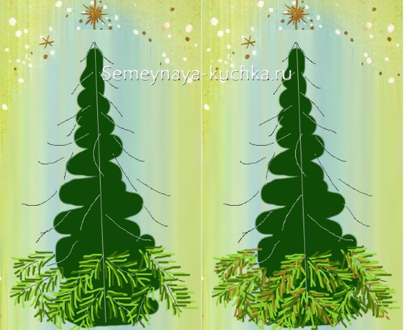 как поэтапно нарисовать новогоднюю елку