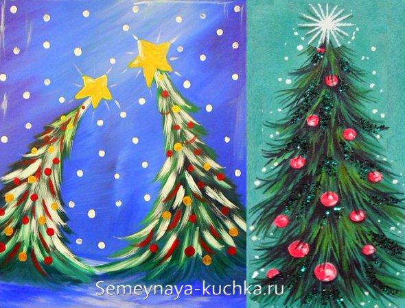 как детям нарисовать елку красками на новый год
