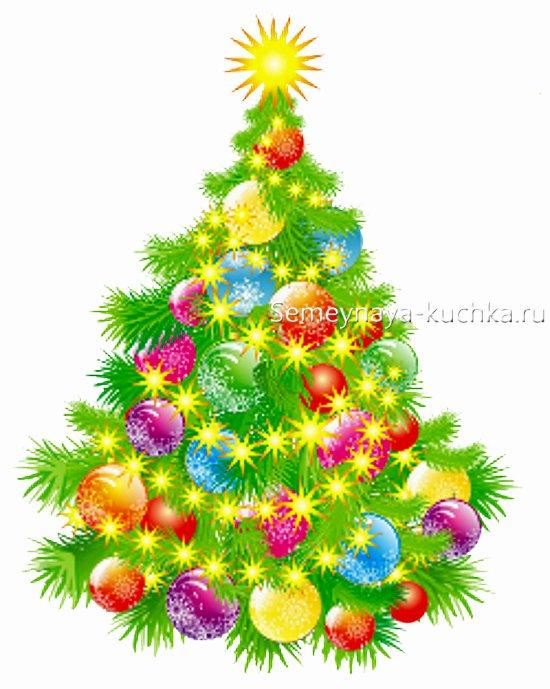 как рисовать огни на новогодней елке