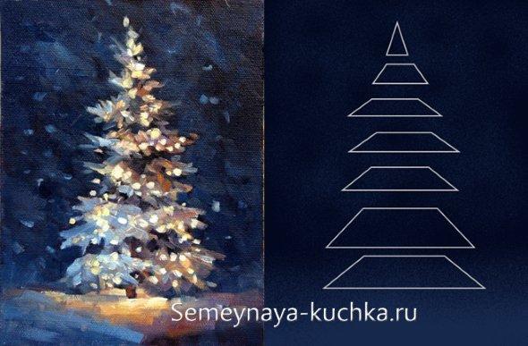 пошаговый урок рисования заснежанной елки в лесу