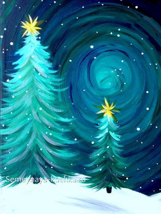 как нарисовать елку зимой