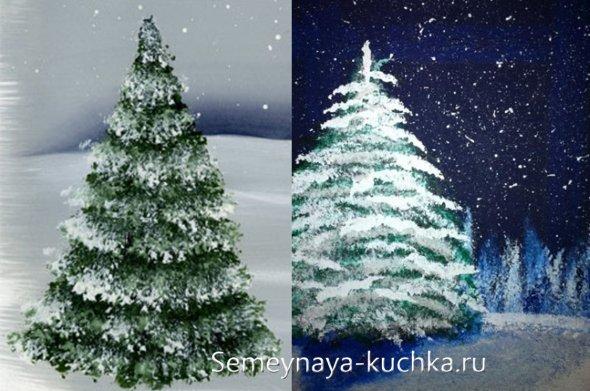 как рисовать елку под снегом