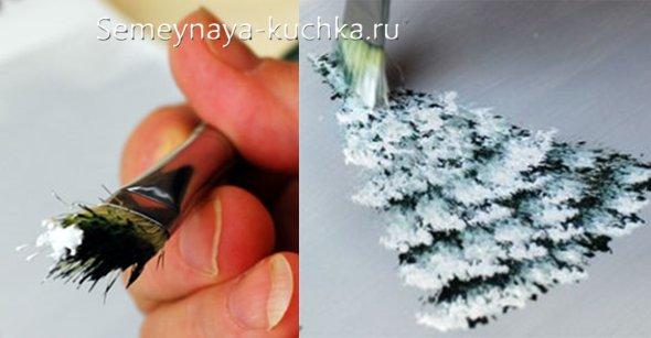 как нарисовать снег на елке
