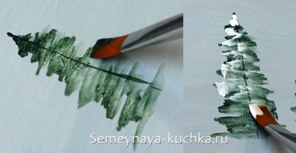 как быстро красками нарисовать елку в снегу