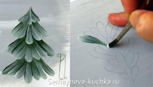 как рисовать заснежаные елки