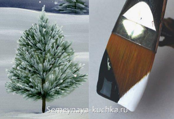 как рисовать пушисные елки в снегу