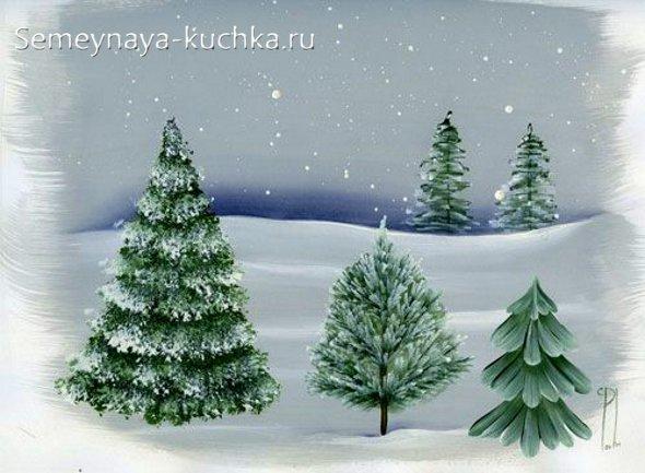 как нарисовать зимний пейзаж с елками
