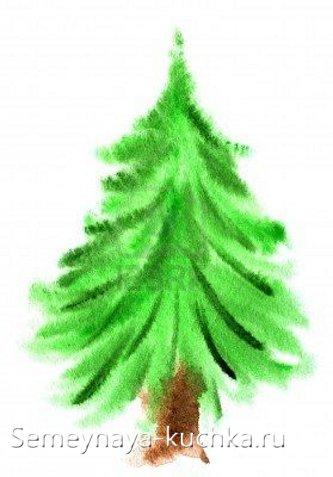 как нарисовать елку гуашью на мокром листе
