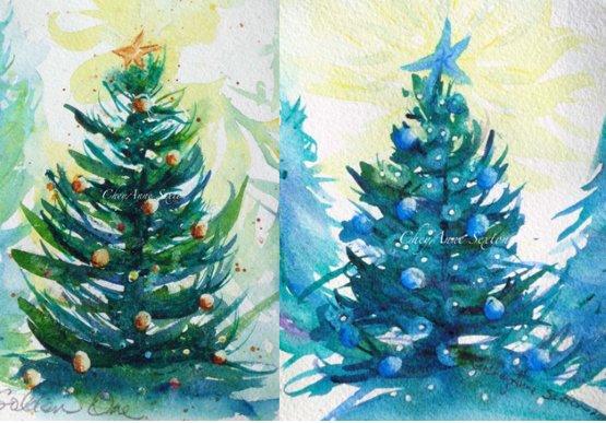 как нарисовать синюю новогоднюю елку своими руками
