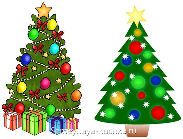 как детям нарисовать новогоднюю елку силуэтом