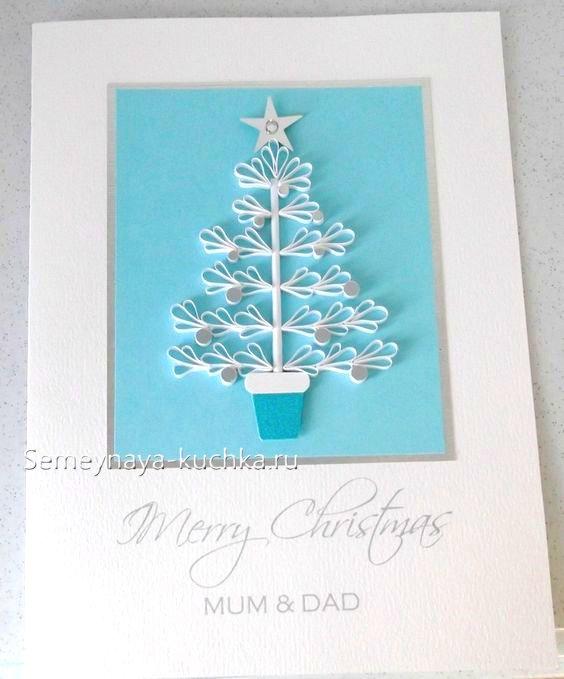 новогодняя елка на открытках