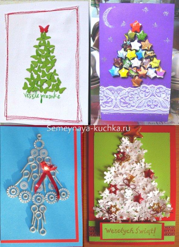 новогодняя открытка с елкой