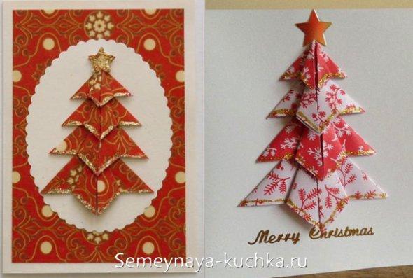елка из салфеток на открытке на новый год