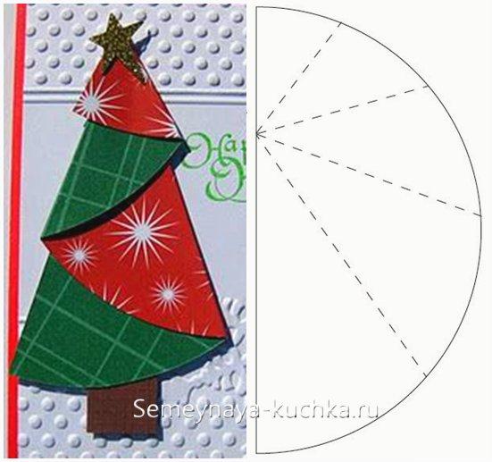 чертеж новогодней открытки с елкой