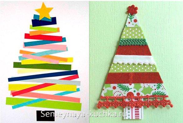 как сделать елку на новогоднюю открытку