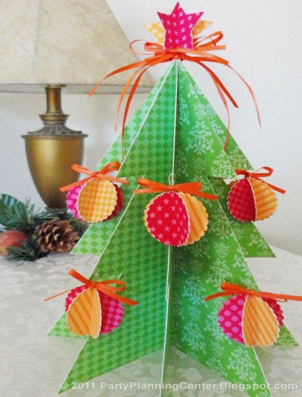 как сделать новогоднюю объемную елку из бумаги