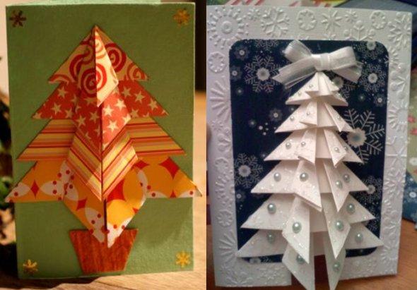 плоская елка из бумаги оригами