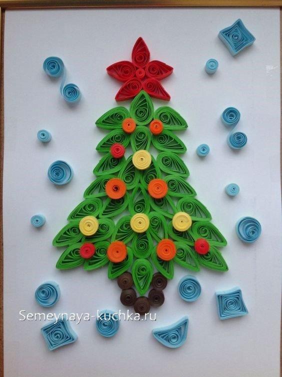 елка из бумажных полосок