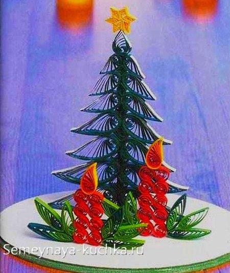 бумажная елка поделка сделать самому
