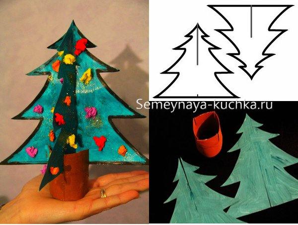 как сделать объемную елку из бумаги и картона