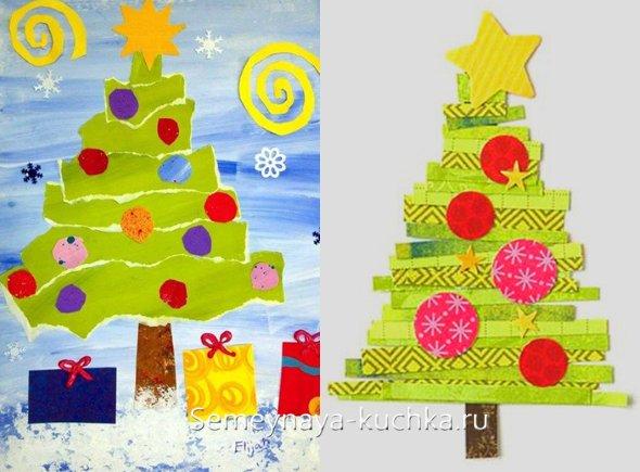аппликация новогодней елки