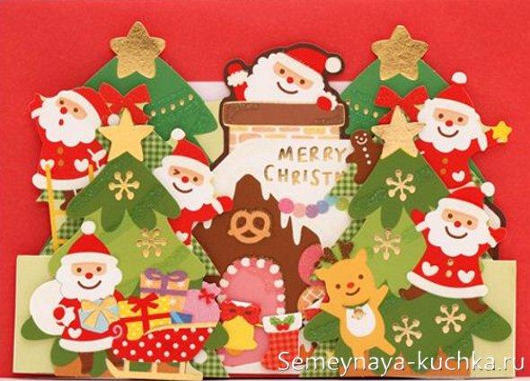 новогодние аппликации с Дедом Морозом