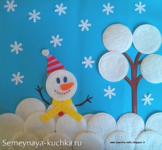 Новогодняя аппликация со снеговиком из ваты
