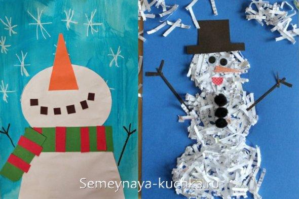 новогодняя аппликация со снеговиком