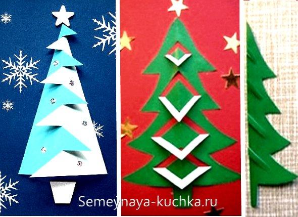 детская аппликация елки на Новый Год