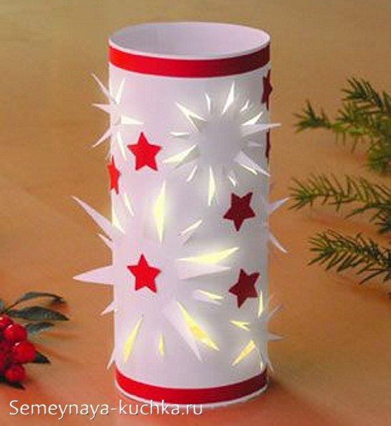 новогодний подсвечник из бумаги