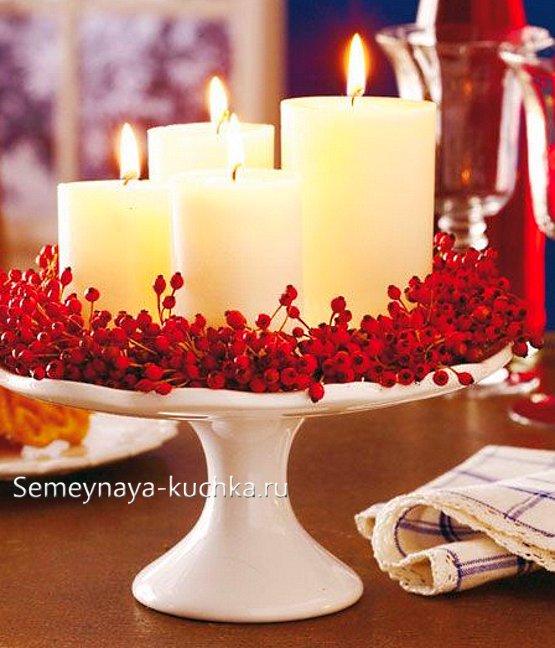 новогодняя ваза со свечами