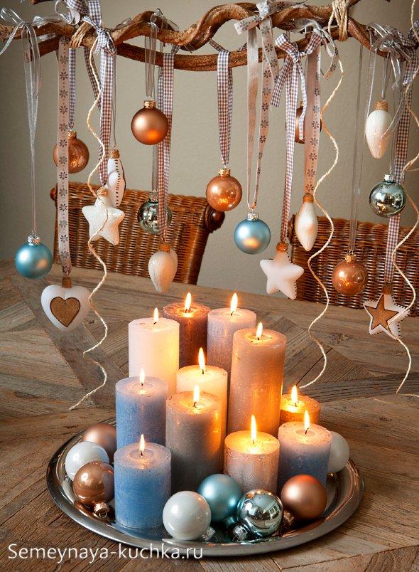 композиция с новогодними свечами