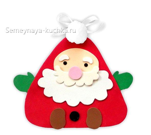 новогодняя детская поделка Дед Мороз