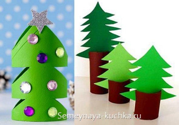 детская новогодняя поделка елки из бумаги