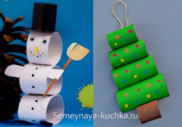 детские поделки снеговик и елочка из картона
