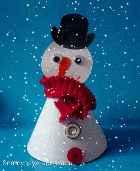 фото новогодняя поделка снеговик
