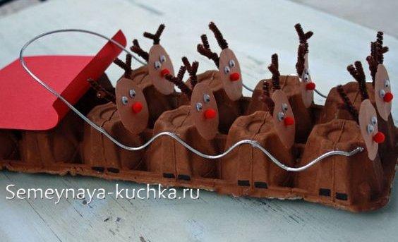 поделки упряжка с оленями новогодняя