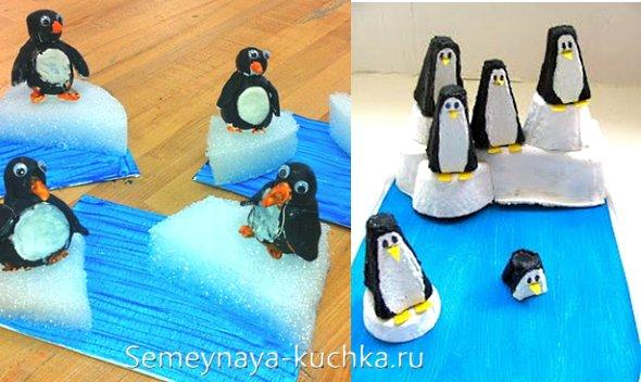 поделки пингвины на льдине