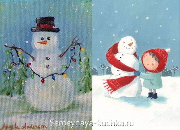 новогодний мастер-класс рисунок со снеговиком