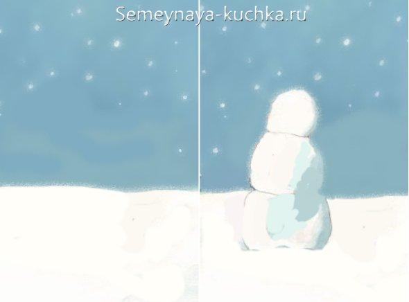 как нарисовать снеговика мастер-класс