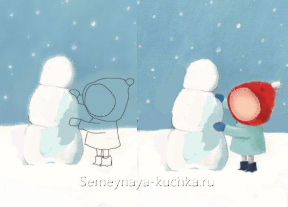урок рисования снеговика