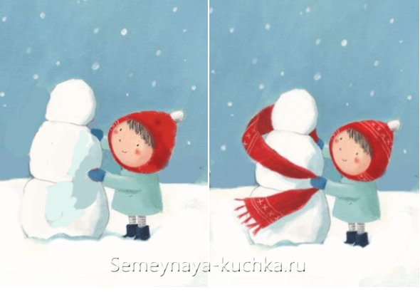 снеговик пошагово как рисовать