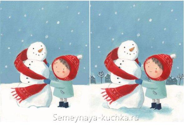 снеговик поэтапно как рисовать