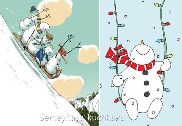 новогодний рисунок со снеговиком