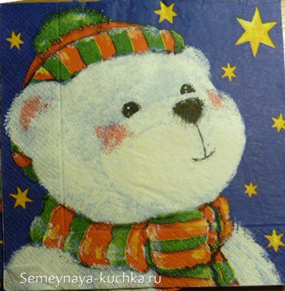 новогодний рисунок с медведем