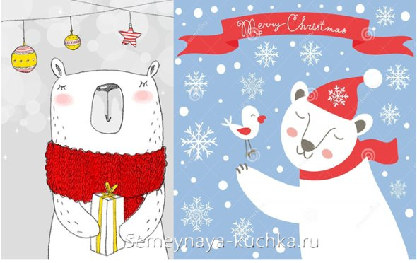 мишка новогодний на рисунке