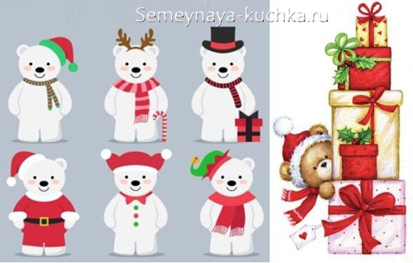как нарисовать новогоднего медведя на рисунке детском