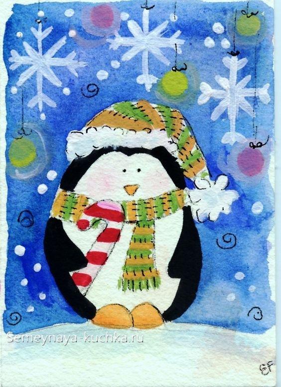 новогодний пингвин на рисунке