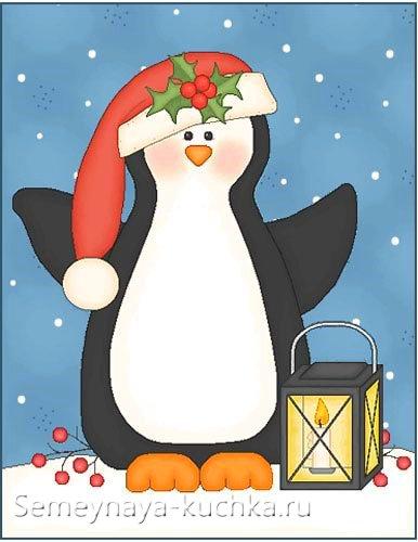 новогодний рисунок с пингвином