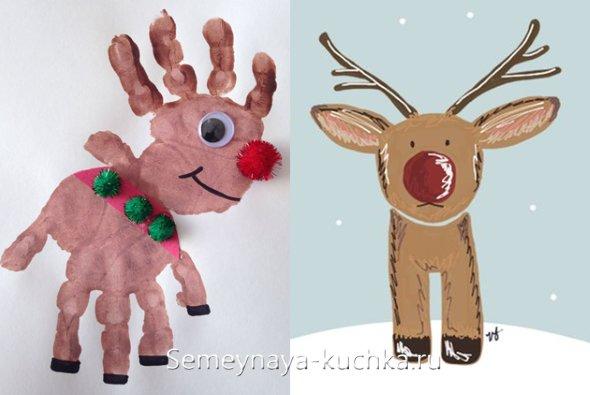 как нарисовать новогоднего оленя